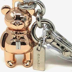 Coach Rose Gold Bear Bag Charm Key Chain New Tag